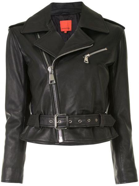 Черная куртка на молнии байкерская с лацканами Manning Cartell