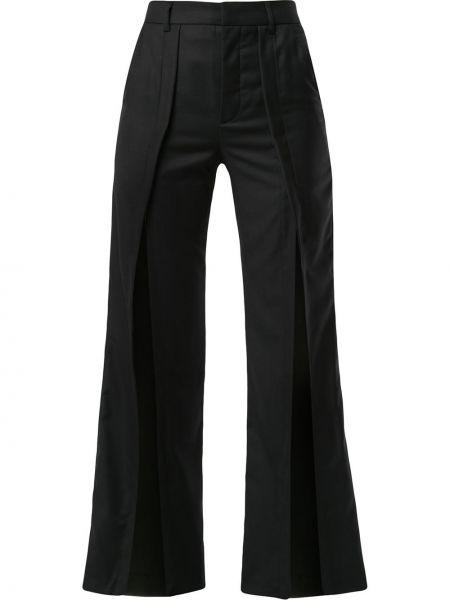 Шерстяные черные расклешенные брюки на крючках Delada