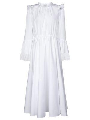 Хлопковое кружевное белое платье миди Giambattista Valli