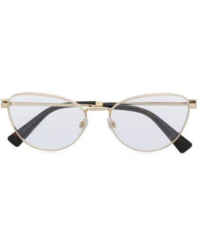 Золотистые очки кошачий глаз хаки прозрачные Valentino Eyewear