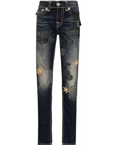 Облегающие зауженные джинсы - синие True Religion