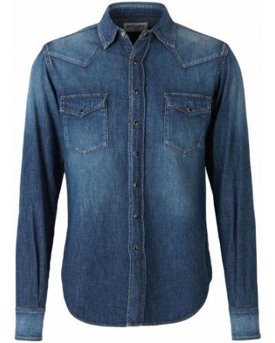 Niebieska koszula jeansowa bawełniana zapinane na guziki Saint Laurent