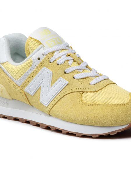 Buty sportowe skorzane - żółte New Balance