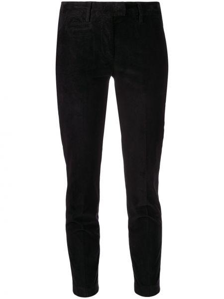 Хлопковые брючные черные брюки с поясом Dondup