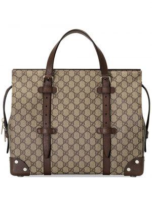 Brązowa torba na ramię skórzana z printem Gucci