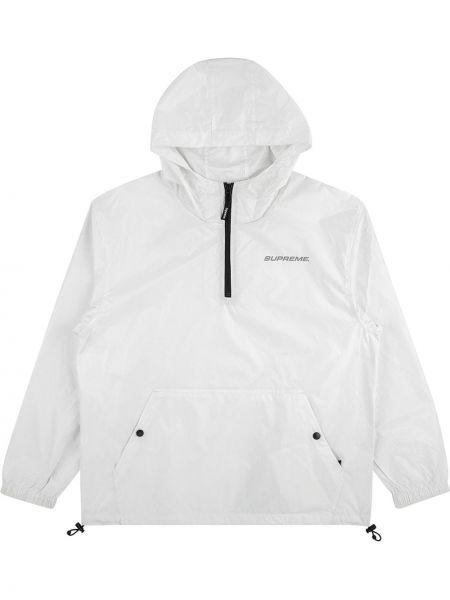 Biały kurtka z kapturem z kieszeniami z długimi rękawami Supreme