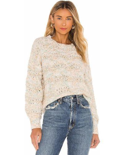 Норковый белый свитер в полоску Minkpink
