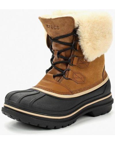 Ботинки осенние кожаные замшевые Crocs