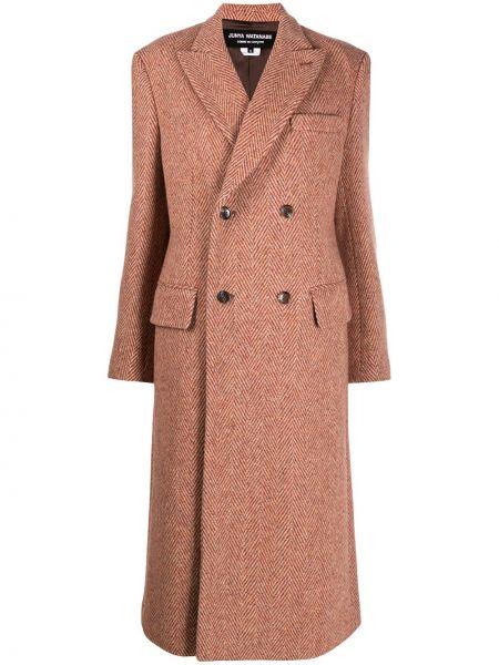 Коричневое шерстяное длинное пальто двубортное Junya Watanabe