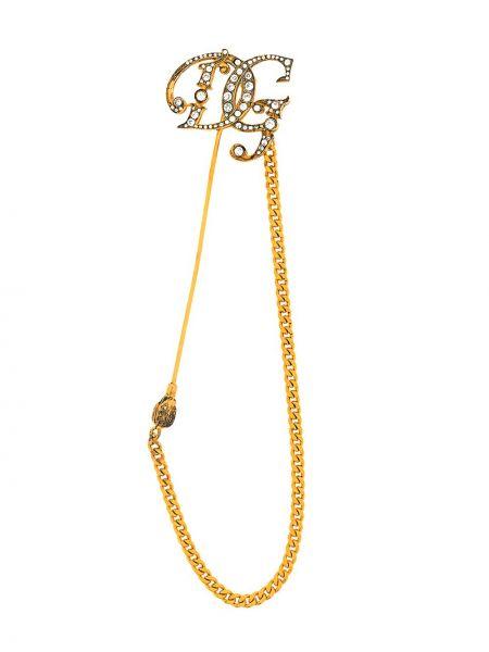 Серебряная брошь золотая Dolce & Gabbana
