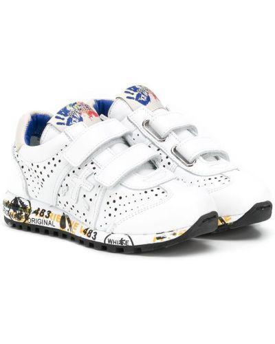 Кожаные белые кроссовки с заплатками Premiata Kids