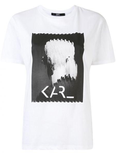Хлопковая белая прямая футболка с круглым вырезом Karl Lagerfeld