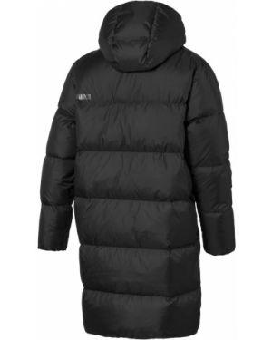 Черная длинная куртка с капюшоном с воротником Puma