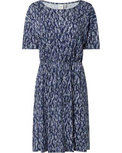 Niebieska sukienka rozkloszowana z wiskozy Ichi
