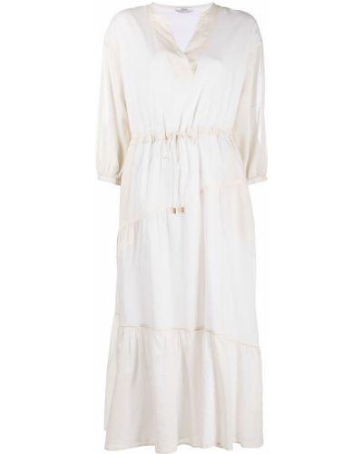 Хлопковое белое платье макси с длинными рукавами Peserico