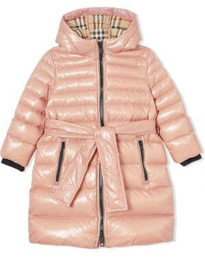 Pikowana płaszcz klasyczny z kapturem Burberry Kids