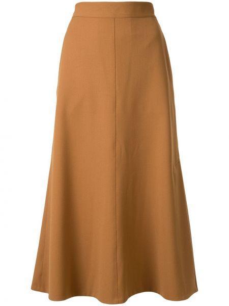 Коричневая расклешенная юбка миди в рубчик Tomorrowland