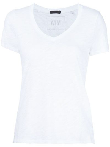Biały t-shirt bawełniany z dekoltem w serek Atm Anthony Thomas Melillo