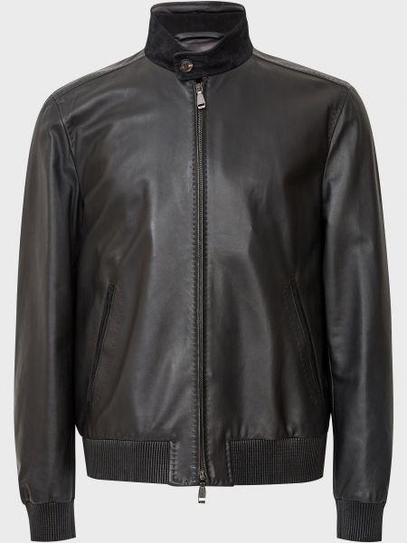 Кожаная куртка на молнии - черная Brioni