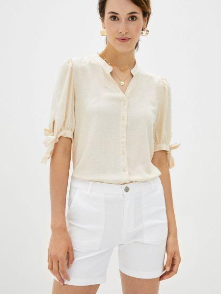 Бежевая блузка с коротким рукавом с короткими рукавами Defacto