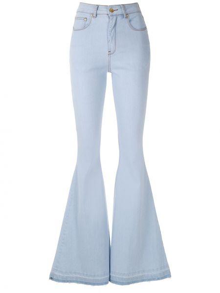 Хлопковые синие расклешенные джинсы с карманами на пуговицах Amapô