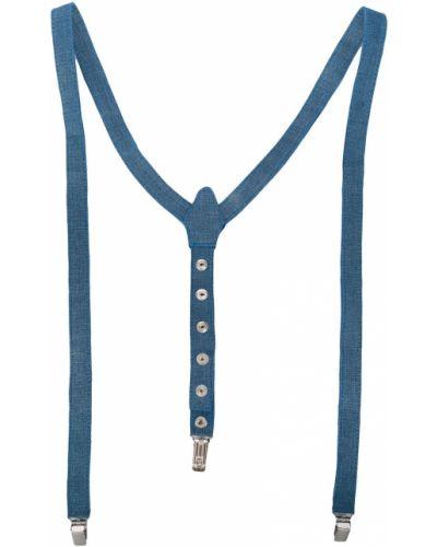 Синие кожаные подтяжки Manokhi