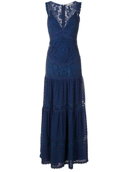 Синее платье макси со шлейфом Martha Medeiros