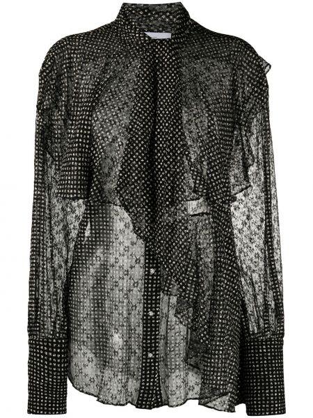 Черная блузка с оборками прозрачная на пуговицах Redemption