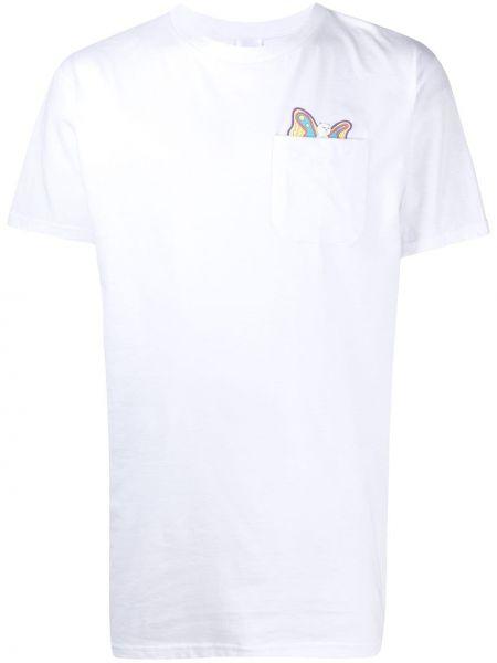 Prosto biały koszula z krótkim rękawem z kieszeniami okrągły Ripndip