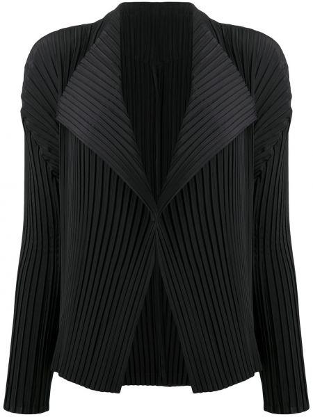 Плиссированный черный удлиненный пиджак с воротником Issey Miyake