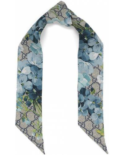 Синий шарф узкий Gucci