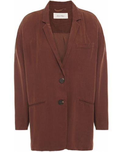 Коричневый пиджак с подкладкой на пуговицах American Vintage