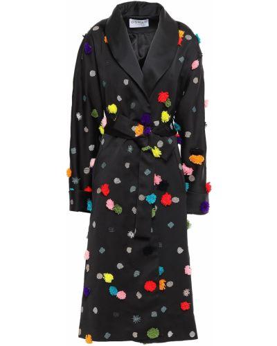 Черное пальто с вышивкой с карманами Osman