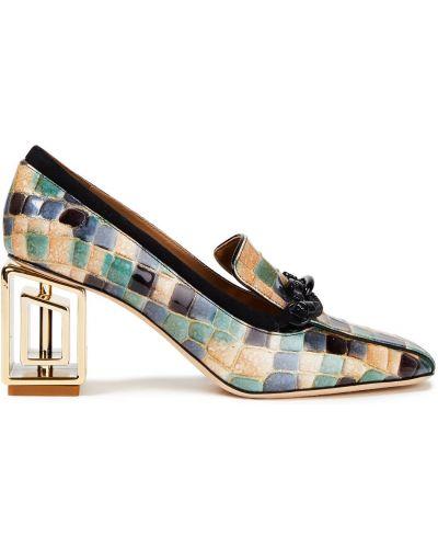 Замшевые туфли-лодочки на каблуке квадратные Tory Burch