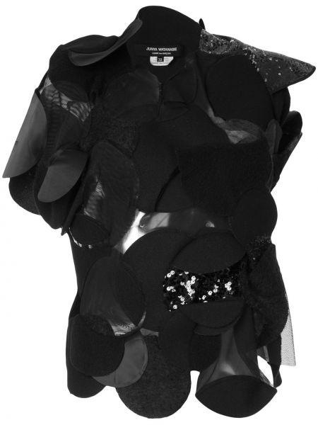 Асимметричный черный топ винтажный со вставками Junya Watanabe Comme Des Garçons Pre-owned