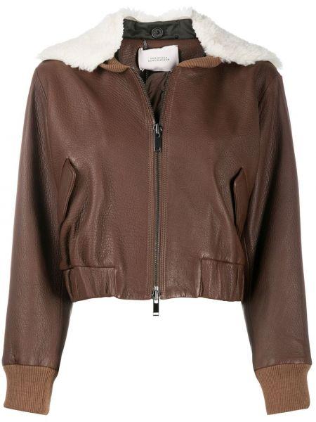 Коричневая кожаная короткая куртка с поясом Dorothee Schumacher