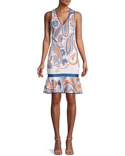Кружевное белое платье без рукавов Roberto Cavalli