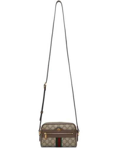 Brązowy skórzany mini torebka z kieszeniami z klamrą Gucci