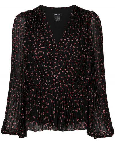 Czarny bluzka z długimi rękawami z dekoltem w szpic Dkny