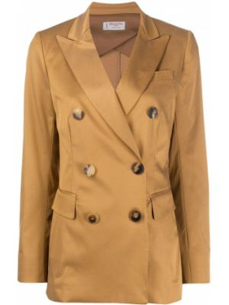 Хлопковая коричневая куртка с лацканами на пуговицах Alberto Biani
