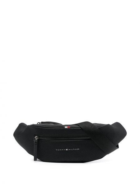 Черная кожаная поясная сумка на молнии Tommy Hilfiger