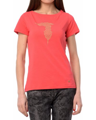 Коралловая футбольная футболка Tru Trussardi