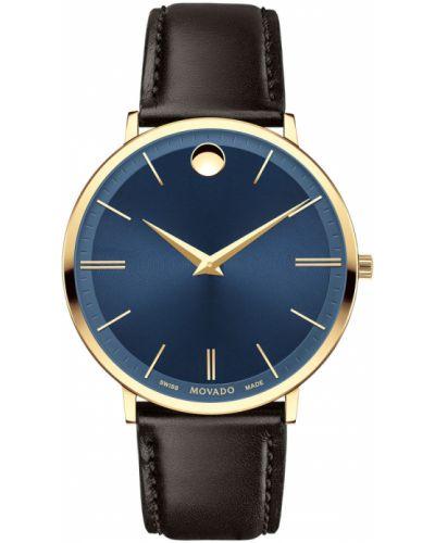 Кварцевые часы с кожаным ремешком швейцарские Movado