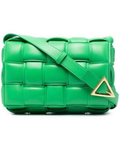 Кожаная зеленая сумка на плечо на молнии Bottega Veneta