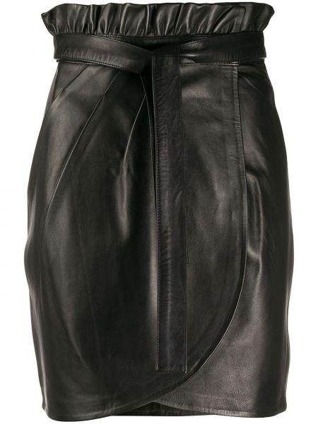 Черная с завышенной талией юбка мини с запахом со складками Ba&sh