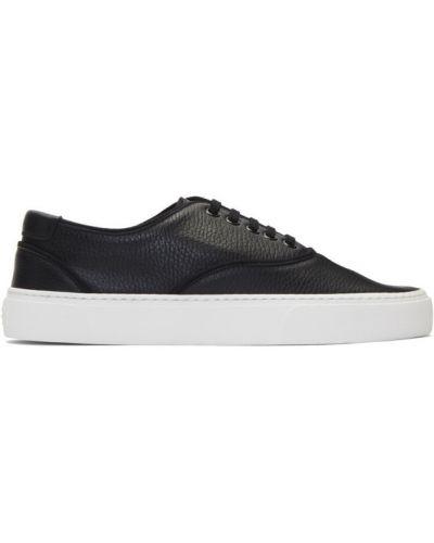 Ażurowy skórzany czarny sneakersy zasznurować Saint Laurent