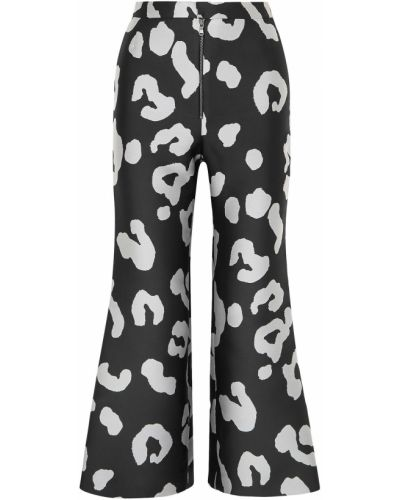 Расклешенные шелковые черные укороченные брюки Merchant Archive