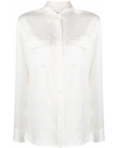 Белая шелковая классическая рубашка с воротником на пуговицах Equipment