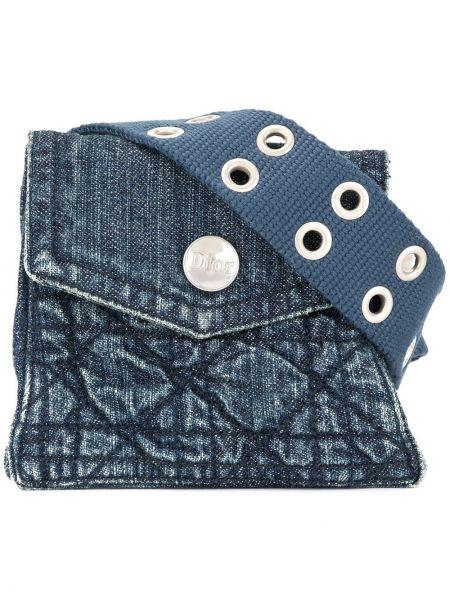 Синяя парусиновая стеганая поясная сумка с помпоном Christian Dior