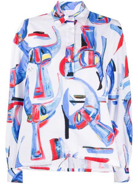 Белая классическая юбка макси с воротником на пуговицах Stella Jean
